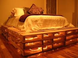 Bed Frame Made Of Pallets And Lights This Pallet Bed Was So Easy We Collected 12 Pallets