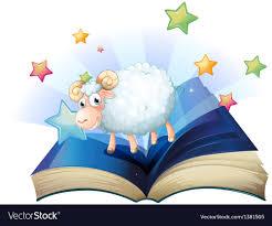 reading open book cartoon an open book with an image of a sheep royalty free vector