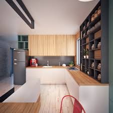 Home Design: White Kitchen Painted Floorboards - Small Apartment