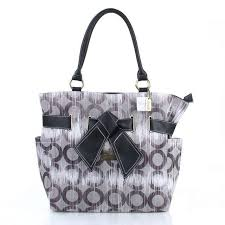 Coach Poppy Bowknot Monogram Medium Grey Totes EUB