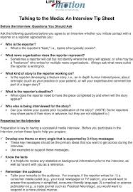 Interview Tip Talking To The Media An Interview Tip Sheet Pdf