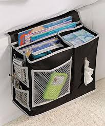 Richards Homewares 6 Pocket Bedside Storage Mattress Book Remote Caddy  Caddy Black