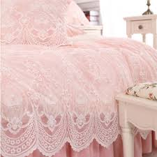 princess french lace duvet cover set pink
