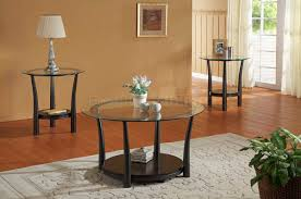 Exceptional Coffee Table, Fascinating Black Round Modern Glass Top Coffee Table Sets  With Shelf Design: ...
