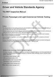 Draft Paper Online Draft Of New Mot Inspection Manual Released Mot Testing Magazine