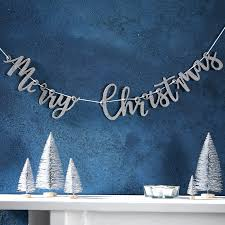 Weihnachtsdeko Merry Christmas Girlande Silberglitzer 100cm