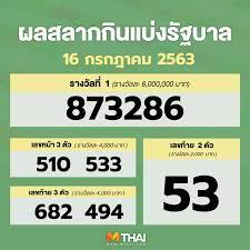 ตรวจหวย   ตรวจหวย งวด 16 กรกฎาคม 2563 ตรวจสลากกินแบ่งรัฐบาล ล่าสุด