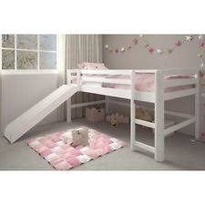 kids loft bed with slide. White Junior Loft Bed With Slide Twin Size Wooden Bunk Kids Play Area Furniture S