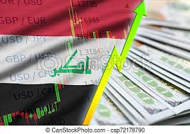 Iraq Flag And Chart Growing Us Dollar Position With A Fan Of Dollar Bills