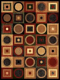 picture of modern contemporary assorted circle square geometric rug