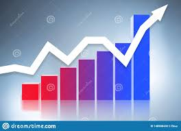 Chart Showing Increase The Bar Chart Showing Growth 3d Rendering Stock
