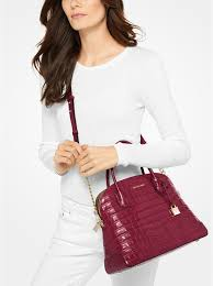 michael michael kors mercer embossed leather dome satchel mulberry 30f7gm9s3e
