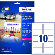 Avery C32026 25 Business Cards 85 X 54mm Satin Ultra White Laser 270gsm 85 X 54 Pack 250