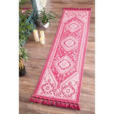 lovable pink runner rug nuloom flatweave tribal diamond dragon cotton tassel pink runner