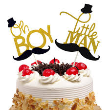 Oh Boy Little Man <b>Cake Toppers Flags Glitter</b> Kids Birthday ...
