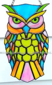 stained glass owl bird window