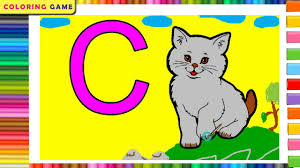 Learn How To Draw And Color English Letter C C For Cat Coloring