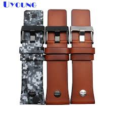 quality genuine leather watchbands camouflage brown color bracelet 28mm watch strap with nail wrisches belt band for dz hadley roma watch bands wide