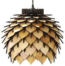 spore lamp laser cut parametric lantern natural wood tone