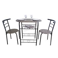 foxhunter compact dining table breakfast bar 2 chair set metal mdf miami black glass and dining