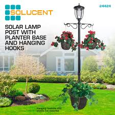 Solar Single Head Lamp Post With Plant Holders