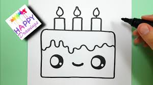 How To Draw A Cute Birthday Cake Easy Youtube