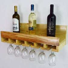 wine glass holder rack 6 natural wood kitchen bar organiser wall mounted glasses
