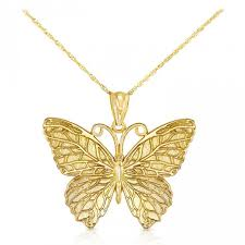 14k solid gold erfly pendant necklace