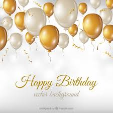 Happy Birthday Background Images Birthday Background With White And Golden Balloons Vector Free