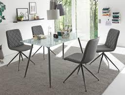 Tischgruppe Glastisch Karin Sandgestrahlt 4 Stühle Elina Grau