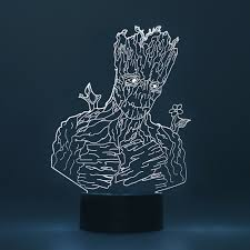 Details About 3d Led Night Light Groot Guardians Of The Galaxy Table Desk Bed Lamp Kids Gifts