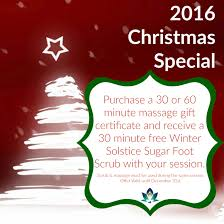 2016 christmas special zengate healing arts purchase a 30 or 60 minute massage gift certificate and receive a 30 minute winter solstice sugar foot scrub your session