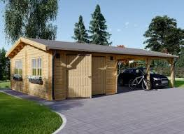 Nice Garage En Bois 400x595 44mm + Carport Double 550x595, 57m²