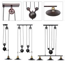 Loft Vintage <b>Pulley</b> Adjustable <b>Ceiling Light</b> 3 <b>Lights</b> Mirror <b>Hanging</b> ...