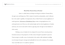 huck finn oh the irony of society a level english marked by  document image preview
