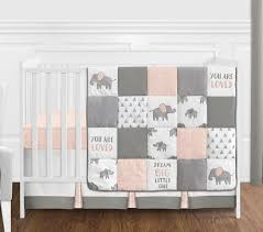 blush pink grey and white watercolor elephant safari baby girl crib bedding set without per by sweet jojo designs 4 pieces only 139 99