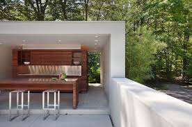 Outdoor Living:Small Outdoor Kitchen Design With Brick Cabinet With Sleek  Marble Countertop And Modern