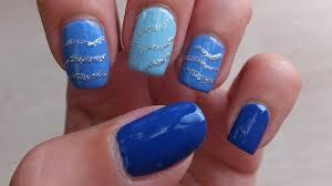 Blue And Silver Glitter Nail Art Design Tutorial - Mayplax