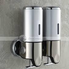 apache 2 chamber stainless steel 2x500ml wall mount hand bathroom kitchen foam lotion soap dispenser dinodirect com