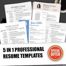 Creative Resumes Professional Printable Editable Template Bundle Ms Word Professional Resume Design Modern Cv Easter Sale