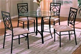 metal glass dining table base clear top modern set p