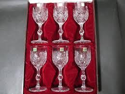 20237 unused hoya crystal hoya crystal wine glass cut glass 6 piece set retro old vintage