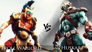 dota 2 huskar vs troll warlord one click battle youtube