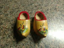 pair wooden shoes holland wood clog hand painted netherlands souvenir windmill
