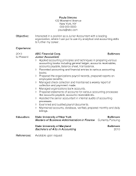 Accounting Job Resume Objective Junior Accountant For Position