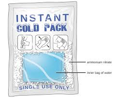this figure shows a single use instant cold pack with labels indicating an inner bag of