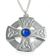 celtic cross head pendant blue stone setting