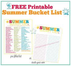 Free Printable Summer Bucket List 100 Fun Things To Do Saving