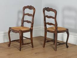antique set of 12 french louis xv style oak rush seat ladder back dining chairs