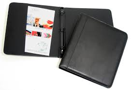 black floine napa leather three ring binders